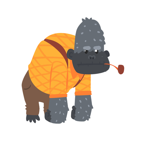 Cute cartoon gorilla in an orange shirt and brown pants and smoking pipe in its mouth. African animal colorful character vector Illustration Illustration
