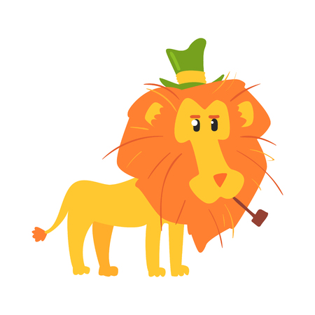 Cute cartoon lion ih a green top hat. African animal colorful character vector Illustration