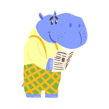 Cute cartoon hippopotamus reading newspaper. African animal colorful character vector Illustration Иллюстрация