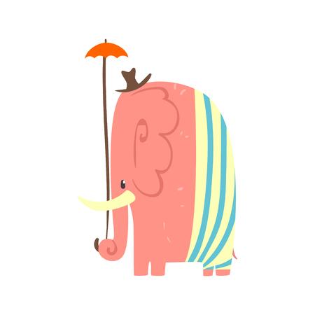 Nettes rosa Karikaturelefantmädchen mit Regenschirm und Hut. Dschungel Tier bunte Zeichen Vektor Illustration Standard-Bild - 76831099