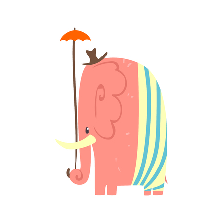 Cute pink cartoon elephant girl with umbrella and hat. Jungle animal colorful character vector Illustration