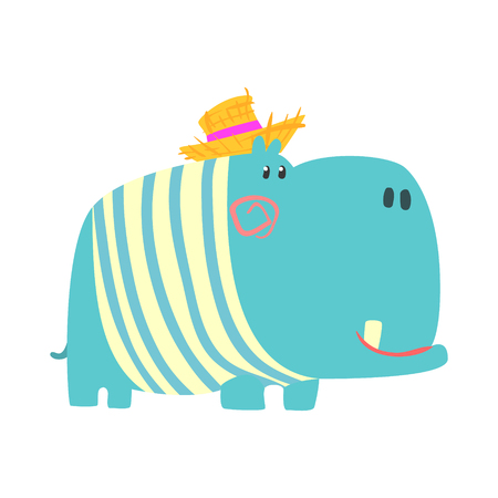 Cute cartoon blue hippopotamus in straw hat. African animal colorful character vector Illustration