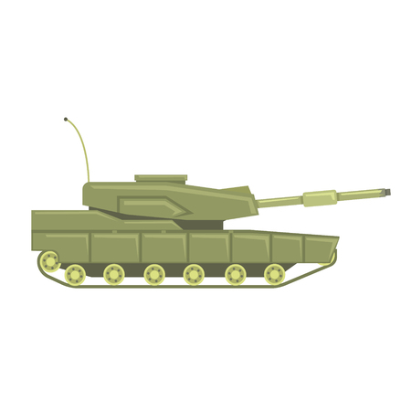 Military tank with cannon. Military combat vehicle vector Illustration