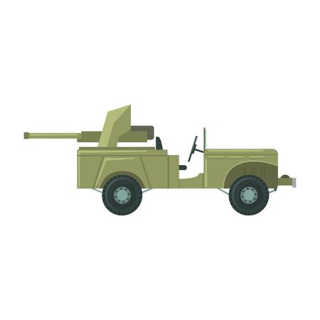 ミサイル発射機の大砲を持つ軍用車。韓国軍の戦闘車両ベクトル図