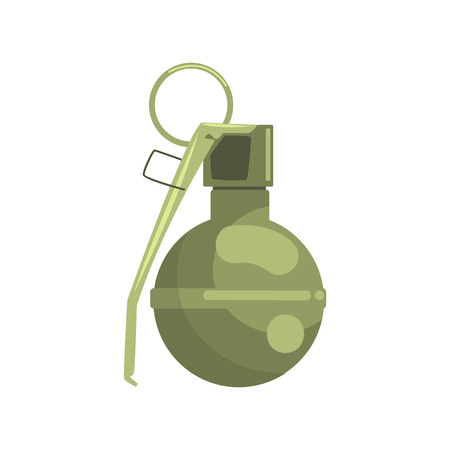 Hand grenade. Military weapon colorful vector Illustration