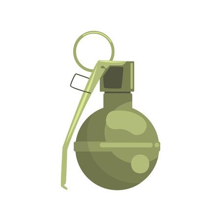 shrapnel: Hand grenade. Military weapon colorful vector Illustration
