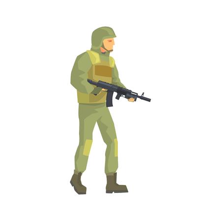 陸軍の兵士。迷彩戦闘服の文字の男性ベクトル イラスト