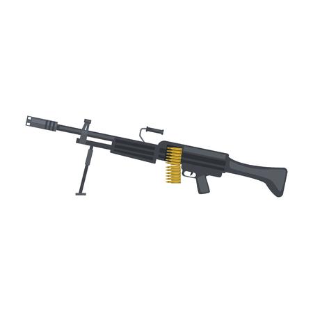 Automatic sniper machine gun. Military weapon vector Illustration