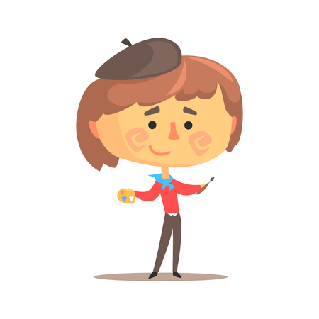 Cute cartoon artist little boy with paintbrush and art palette. Colorful character vector Illustration