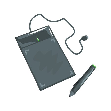 tablet pc in hand: Computer drawing tablet with pen. Artistic equipment colorful cartoon vector Illustration