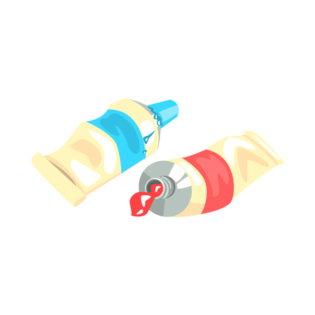 Blue and red acrylic paint tubes. Artistic equipment colorful cartoon vector Illustration