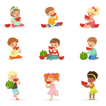 Schattige kleine kinderen watermeloen eten. Gezond eten, snack voor kinderen. Cartoon gedetailleerde kleurrijke illustraties