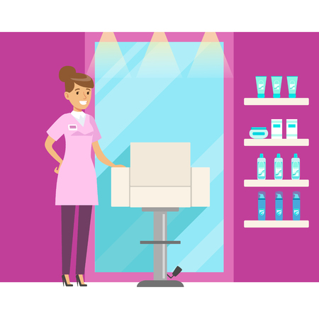 Barbershop interior in pink colors. Colorful cartoon character vector Illustration