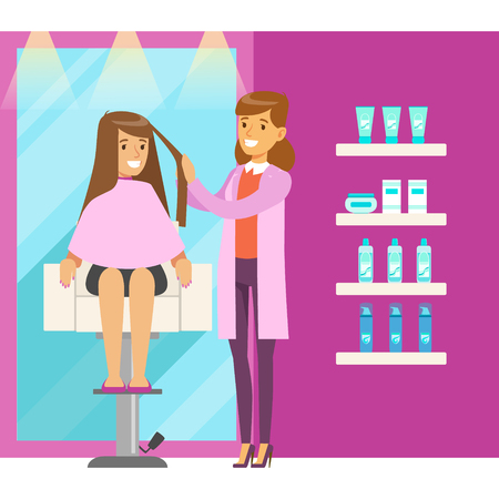 Young woman in hairdresser saloon having a haircut. Colorful cartoon character vector Illustration
