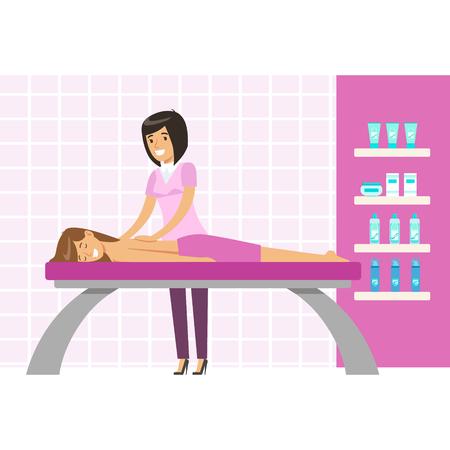 masajes relajacion: Joven tener un masaje en un estudio de bienestar. Colorido vector de personaje de dibujos animados