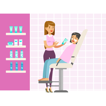 Beautician applying woman white mask on face in salon. Colorful cartoon character vector Illustration Illustration