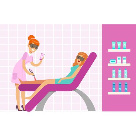 足脱毛レーザー毛除去装置とを有する女性。カラフルな漫画文字ベクトル図