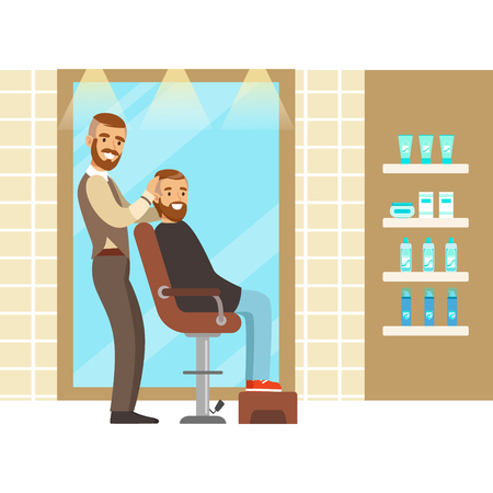 Male hairdresser serving client. Colorful cartoon character vector Illustration