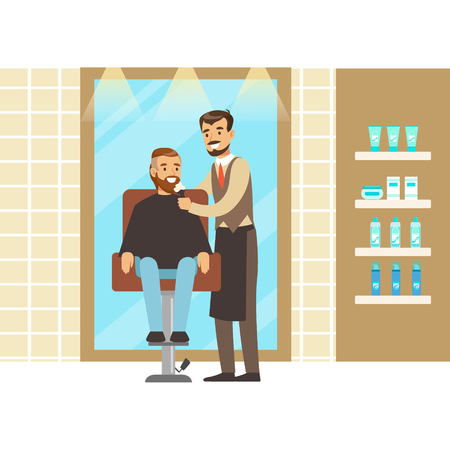 Man getting a shave from male barber at salon. Colorful cartoon character vector Illustration Illustration