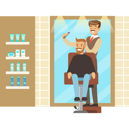 Male hairdresser brushing hair of bearded man. Colorful cartoon character vector Illustration Ilustrace
