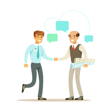 Two businessmen discussing at meeting. Colorful cartoon character vector Illustration Illustration