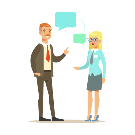 Two colleagues discussing at meeting. Colorful cartoon character vector Illustration Illustration