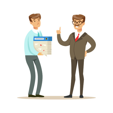 Businessman holding a lot of papers in his hands and listening to his boss. Colorful cartoon character vector