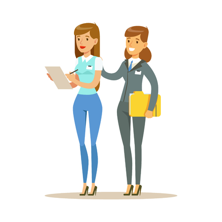 Two young woman working together in office. Colorful cartoon character vector Illustration