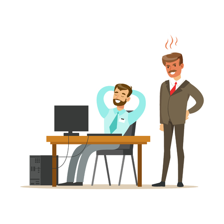 Angry boss yelling at employee. Colorful cartoon character vector 向量圖像