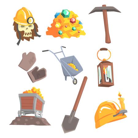 金の採掘、ラベルのデザインを設定します。鉱山機械、野生の西。カラフルな漫画詳細なベクトル イラスト