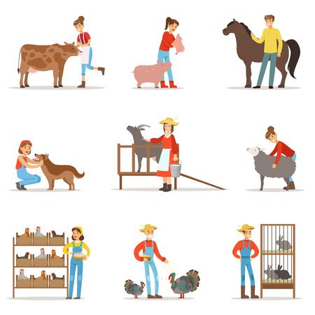 Het fokken van dierenland. Boerderij beroep werknemer mensen fokken vee. Set van kleurrijke cartoon gedetailleerde vectorillustraties Stock Illustratie