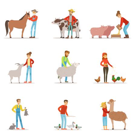 家畜を飼育する農家。ファームの職業労働者の人々 は、農場の動物。カラフルな漫画詳細なベクトル イラストのセット