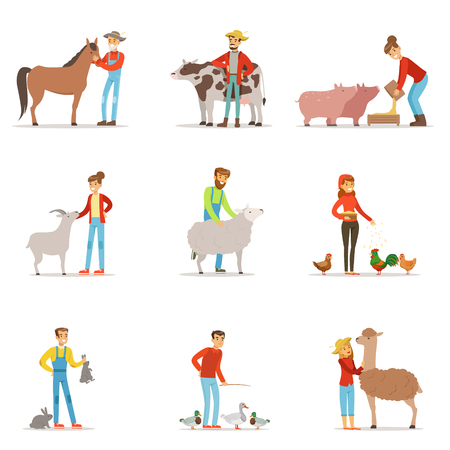 Farmers breeding livestock. Farm profession worker people, farm animals. Set of colorful cartoon detailed vector Illustrations Illustration