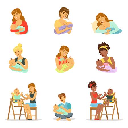 Mama und Papa füttern ihre Babys für Label Design. Bunte Zeichentrickfiguren Standard-Bild - 76831115