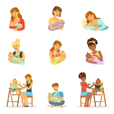 Mom and dad feeding their babies set for label design. Colorful cartoon characters
