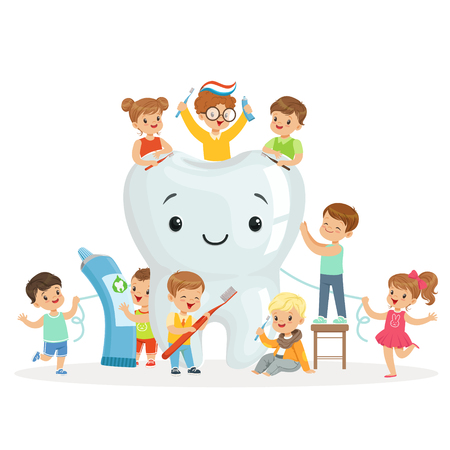 Little children take care of and clean a large, smiling tooth. Colorful cartoon characters