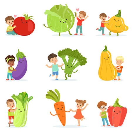 Cute little children having fun and playing with big vegetables, set for label design. Colorful cartoon characters detailed vector Illustrations Stock Illustratie