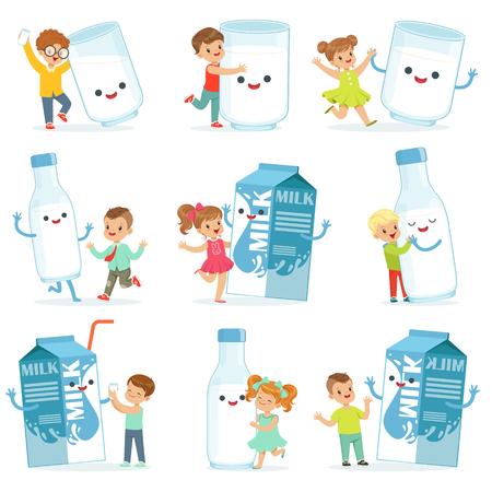 かわいい子供たちと大きな箱、マグカップと、牛乳のボトルで遊んで楽しいラベルのデザインを設定します。カラフルな漫画のキャラクター