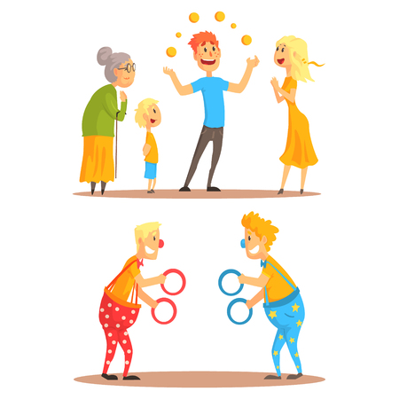 costume ball: Young man juggling with oranges before his family. Clowns juggling with rings on a circus show. Circus or street actors set of colorful cartoon detailed vector Illustrations