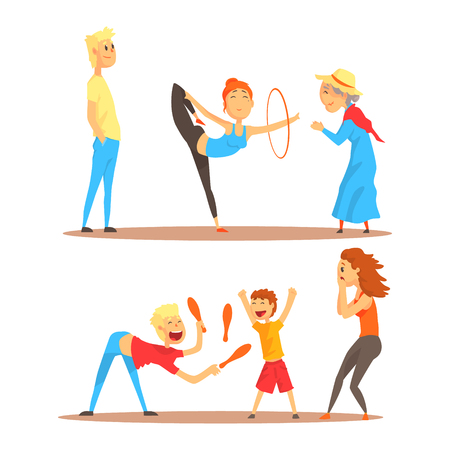 Girl doing gymnastics dance with hoop. Juggler playing with pins. Circus or street actors set of colorful cartoon detailed vector Illustrations Ilustrace