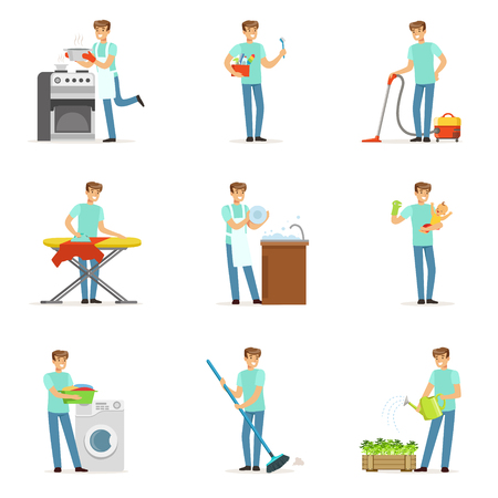 Happy househusband men cleaning their house, washing, ironing bringing up child. Set of colorful cartoon detailed vector Illustrations Ilustrace