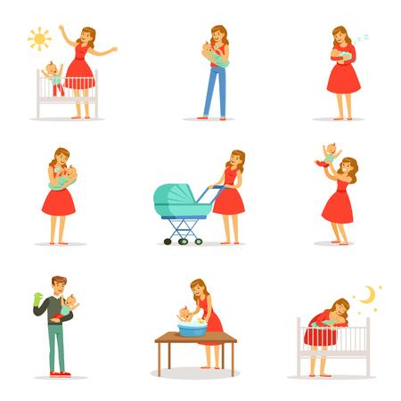 Maman et annonce prendre soin de leurs enfants fixés pour la conception d'étiquettes. personnages de dessins animés colorés Vecteurs