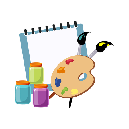 Album, Palette And Paint, Set Of School And Education Related Objects In Colorful Cartoon Style. Scholar Inventory Illustration Flat Vector Cute Drawing.