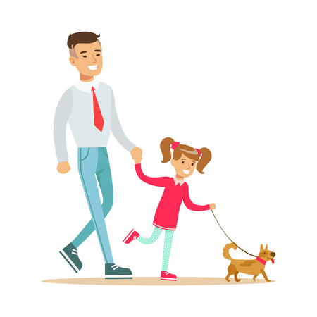 dog walking: Father with his daughter walking with their small dog. Colorful cartoon character Illustration isolated on a white background