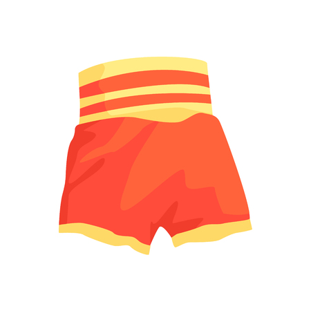 Red boxing shorts, clothing for athlete. Colorful cartoon vector Illustration isolated on a white background