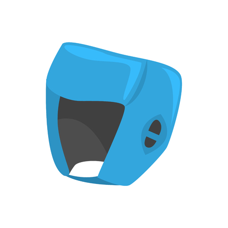 Blue boxing helmet to protect the head. Colorful cartoon vector Illustration isolated on a white background