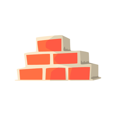 Red brick wall. Building and construction. Colorful cartoon vector Illustration isolated on a white background 向量圖像