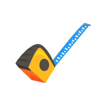 Yellow measuring roulette. Construction tool. Colorful cartoon vector Illustration isolated on a white background Illustration