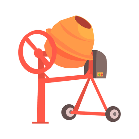 Orange concrete mixer. Building and construction. Colorful cartoon vector Illustration isolated on a white background