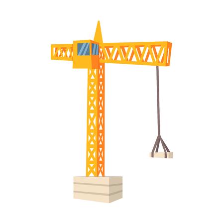 Gele hijskraan. Bouw en constructie. Kleurrijke cartoon vector illustratie geïsoleerd op een witte achtergrond